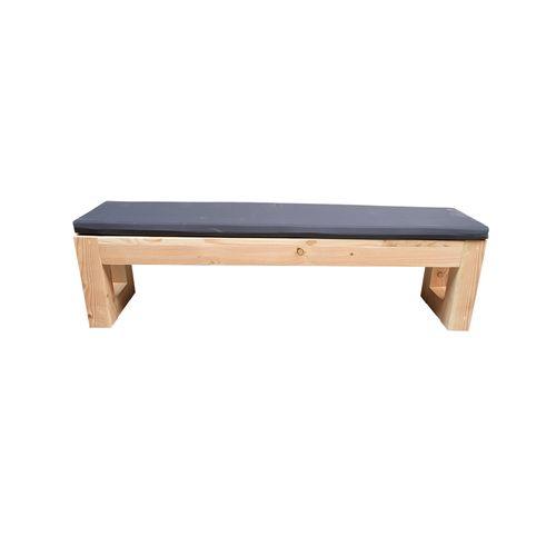 Banc de jardin Wood4you Boston Douglas bois + coussin 150x38x43xcm