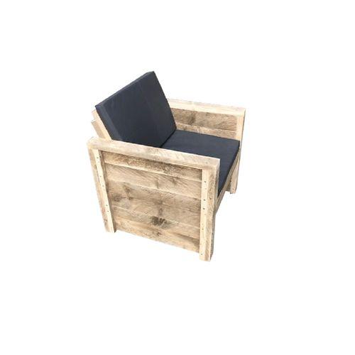 Fauteuil de jardin Wood4you Vlieland bois Douglas kit de construction et coussins