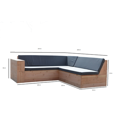 Fauteuil lounge Wood4you One bois douglas 220x200x70cm (forme L)