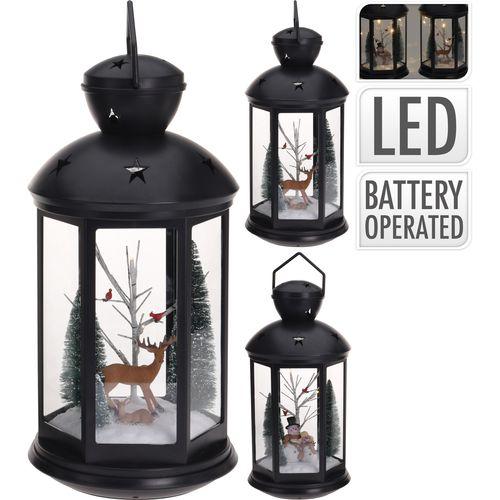 Lantaarn met kerstscene en LED-lampjes 43cm