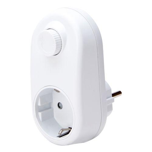 Kopp tussenstekker met RA en dimmer LED 3-24W, wit