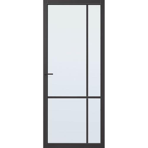 CanDo Capital binnendeur Lincoln zwart blank glas opdek rechts 78x201,5 cm