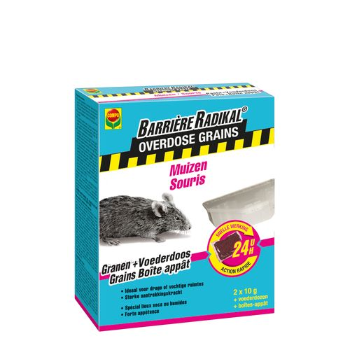 Compo lokaas Barrière Radikal Overdose granen muizen 20g in voederdozen