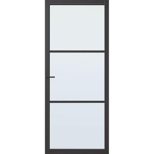 CanDo Capital binnendeur Dover zwart blank glas opdek links 83x201,5 cm