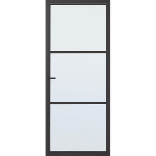 CanDo Capital binnendeur Dover zwart blank glas stomp rechts 83x201,5 cm