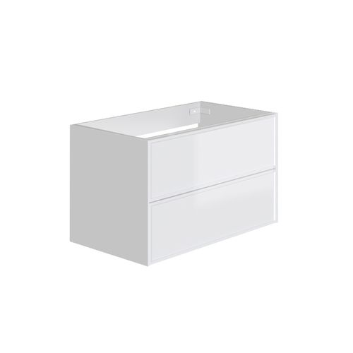 Meuble sous-lavabo Allibert Finn 2 tiroirs blanc brillant 80cm