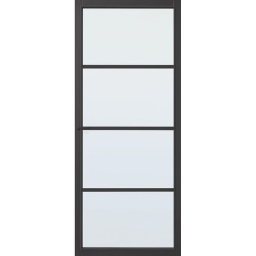 CanDo Capital binnendeur Hartford zwart mat glas opdek links 83x201,5 cm