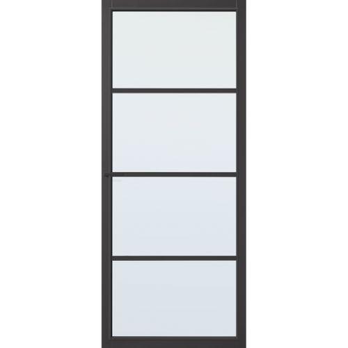 CanDo Capital binnendeur Hartford zwart mat glas opdek rechts 83x201,5 cm