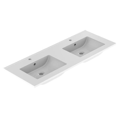 Lavabo Allibert Primo 120cm double vasque blanc brillant