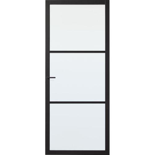 CanDo Industrial binnendeur Scampton zwart mat glas opdek rechts 93x211,5 cm