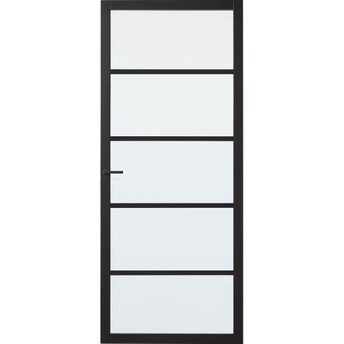 CanDo Industrial binnendeur Stratford zwart mat glas opdek rechts 83x201,5 cm