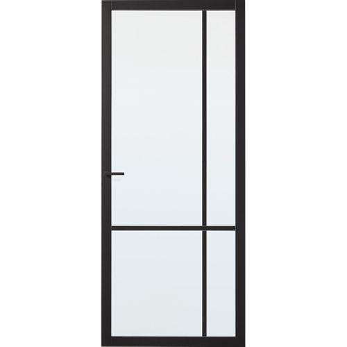 CanDo Industrial binnendeur Carno zwart mat glas stomp 88x231,5 cm