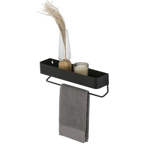 Etagère + porte-serviette Sealskin Brix métal noir poudré 35cm