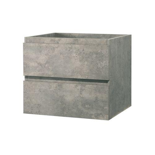 Meuble sous-lavabo Aquazuro Napoli à suspendre 2 tiroirs gris béton 60cm
