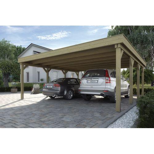 Weka dubbele carport 609 GR.1 eiken 604x621cm