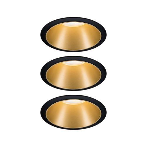 Paulmann inbouwspot LED Cole Coin 3-stapdim zwart goud 3x6,5W