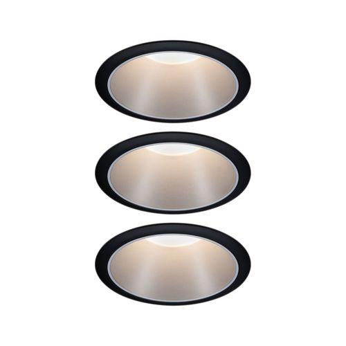 Paulmann inbouwspot LED Cole Coin 3-stapdim zwart zilver 3x6,5W