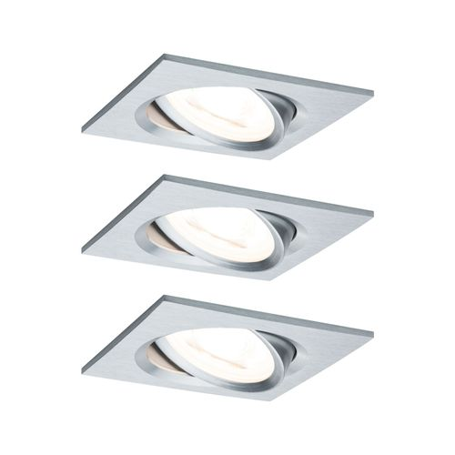 Paulmann spot encastrable LED Nova carré orientable 3-stepdim aluminium 51mm GU10 3x6,5W