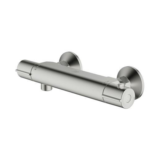 AquaVive thermostatische douchekraan Cato geborsteld staal 15cm