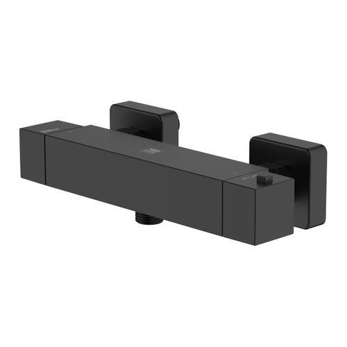 Robinet de douche thermostatique AquaVive Tanaro noir 15cm