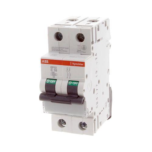 Disjoncteur modulaire Vynckier 2 pôles 16A