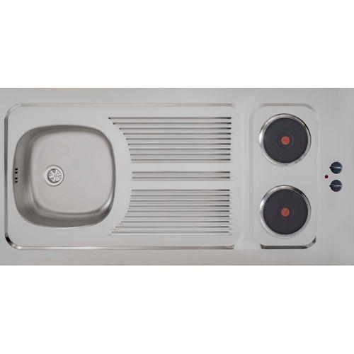 Kitchinette ECO : opbouwspoeltafel RVS 120 x 60 x 5 cm met 2 ingebouwde kookplaaten 2 x 1500 W. Omkeerbaar : rechts / links. Afvoer met afvoerplug, sifon, overloop en aansluiting (vaat)wasmachine.