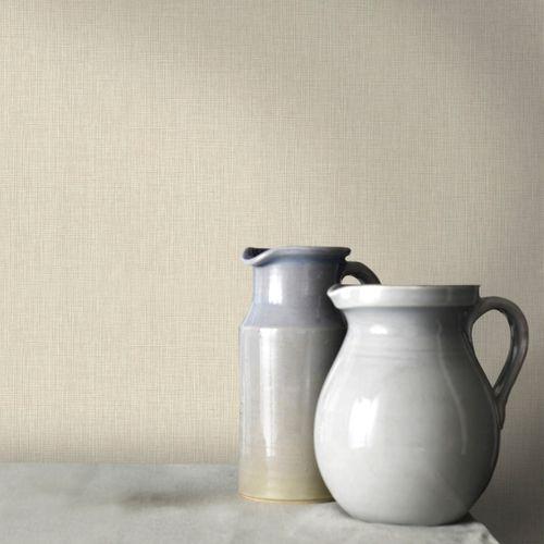 Papier peint intissé uni beige blanc 68731