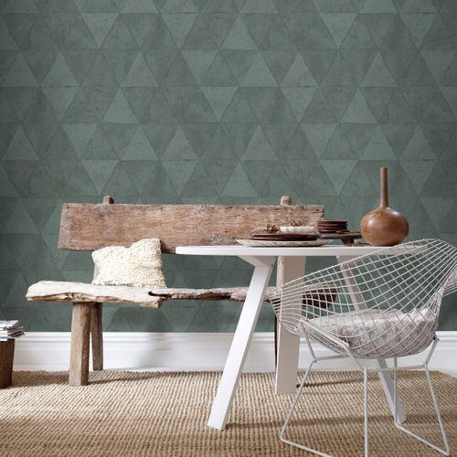 Vliesbehang driehoeken groen IF3102