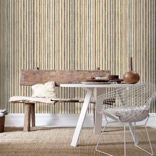 Vliesbehang bamboe beige G67940