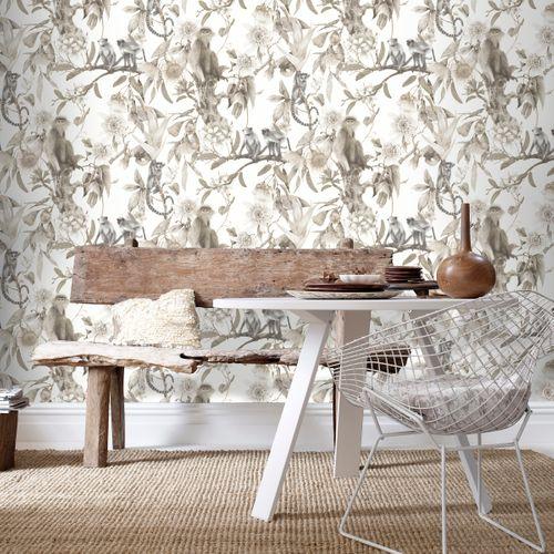 Papier peint intissé singes fleurs beige G67959