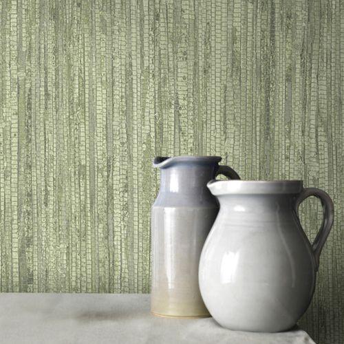 Vliesbehang textuur en streep groen G67962