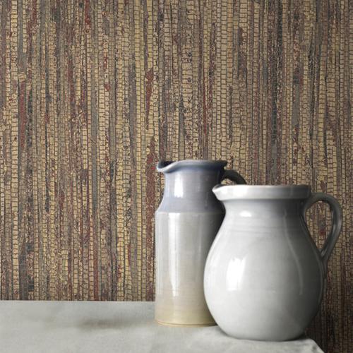 Vliesbehang textuur en streep bruin G67963