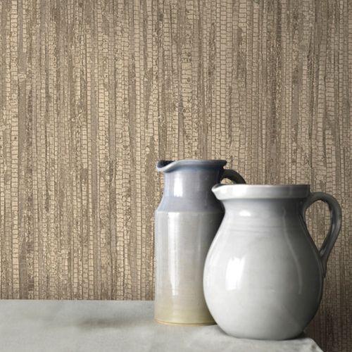 Vliesbehang textuur en streep beige G67965