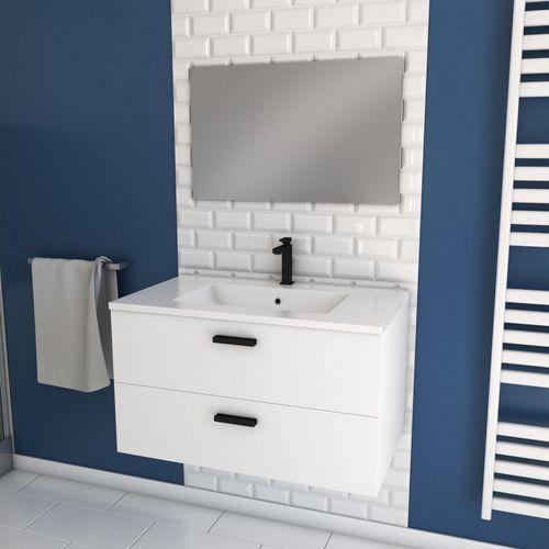 Meuble de salle de bain Aurlane Lift 80cm blanc brillant