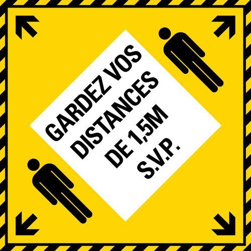 Pickup Vloersticker 1,5m Gardez vos distances (geel/zwart) 310x310 mm