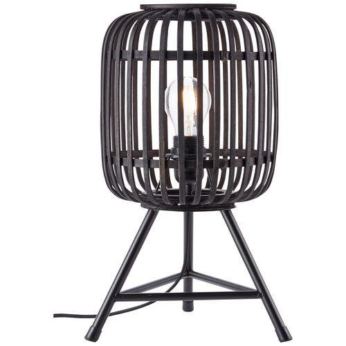 Brilliant tafellamp Woodrow driepoot bamboo zwart E27