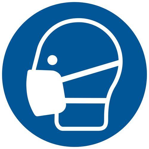 Pickup Bord  Mondkapje dragen verplicht 18cm blauw