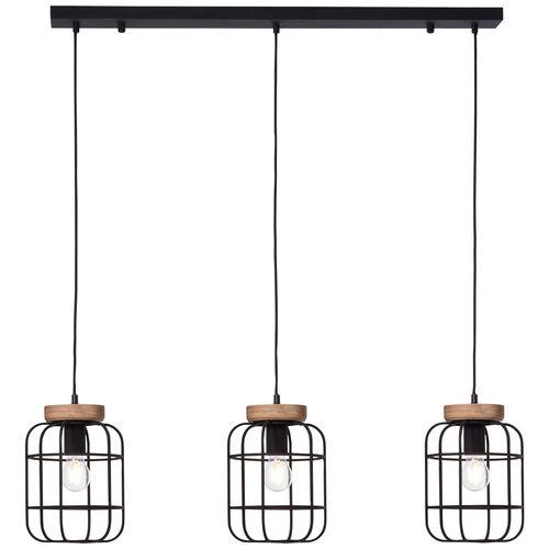 Brilliant hanglamp Gwen balk zwart 3xE27