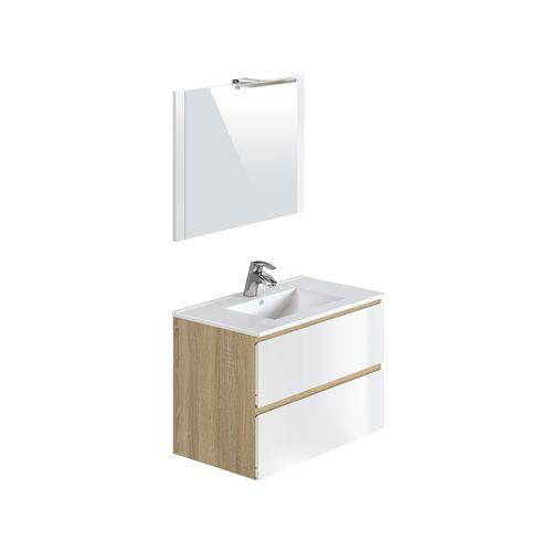 T-Bath badmeubelset Milenio 90cm wit/eik glanzend