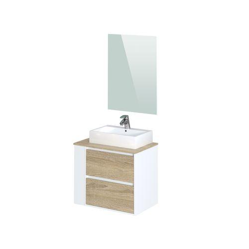 Meuble de salle de bains T-Bath Herrados mélamine chêne/blanc mat 80cm