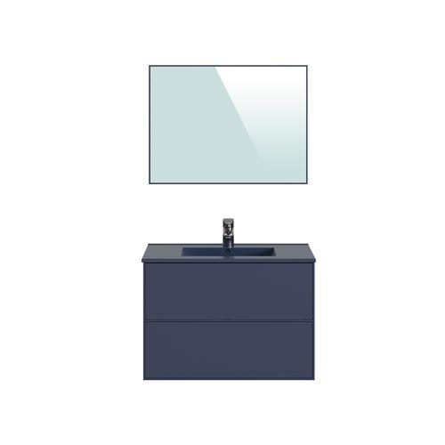 Meuble de salle de bains T-Bath Superline mélamine laqué bleu mat 80cm