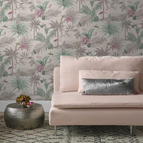 Decomode vliesbehang Paradise grijs/roze