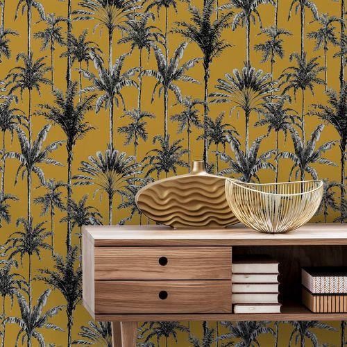 Decomode vliesbehang Vintage palm oker