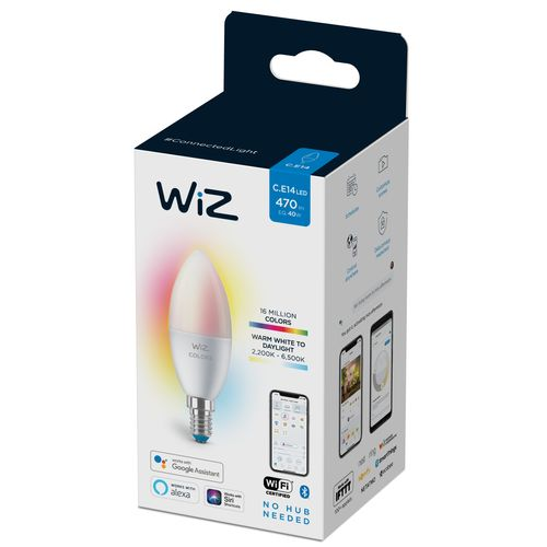 WiZ LED lampe flamme couleur et lumière blanche 40W E14