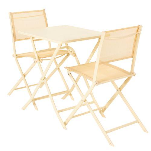 Chaise pliante Central Park Stacy acier textile massepain