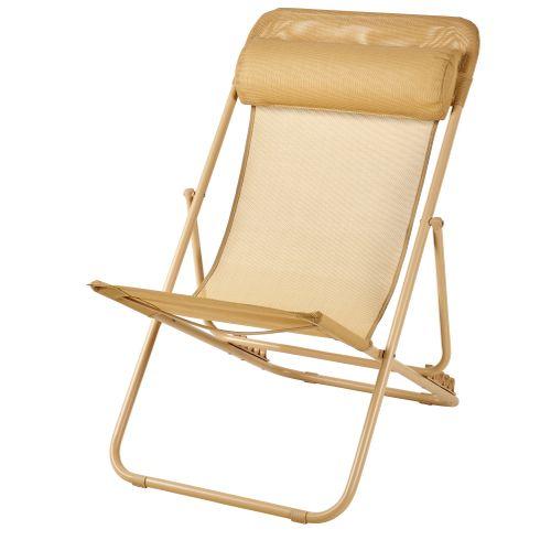 Chaise de plage Central Park Sevilla acier jaune massepain