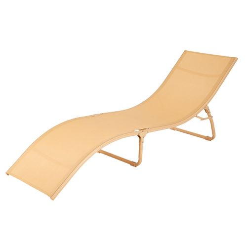 Chaise longue Central Park Wave steel textile marzipan