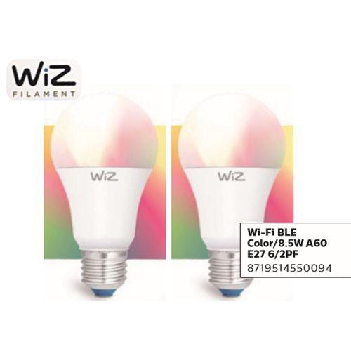 WiZ LED lamp gekleurd en wit 60W E27 - 2 stuks