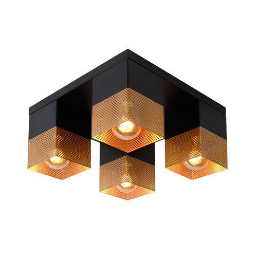 Plafonnier Lucide Renate noir/or 4xE27