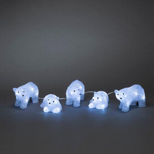 Konstsmide set van 5 ijsberen Konstsmide 15 koude witte LED's 17x7x9cm
